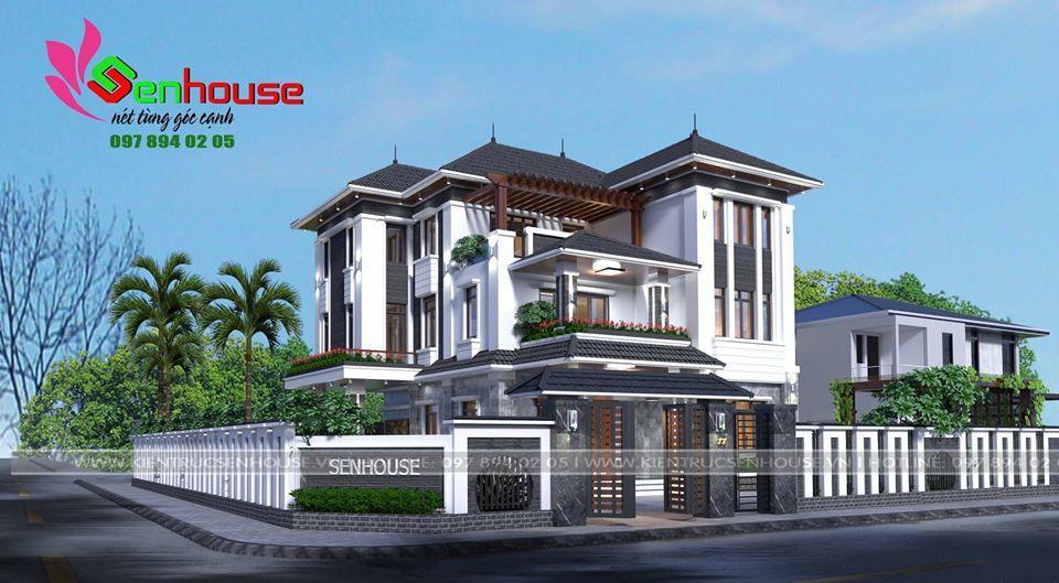 Thiết kế biệt thự 3 tầng nhà anh Diện tại Diễn Châu Nghệ An