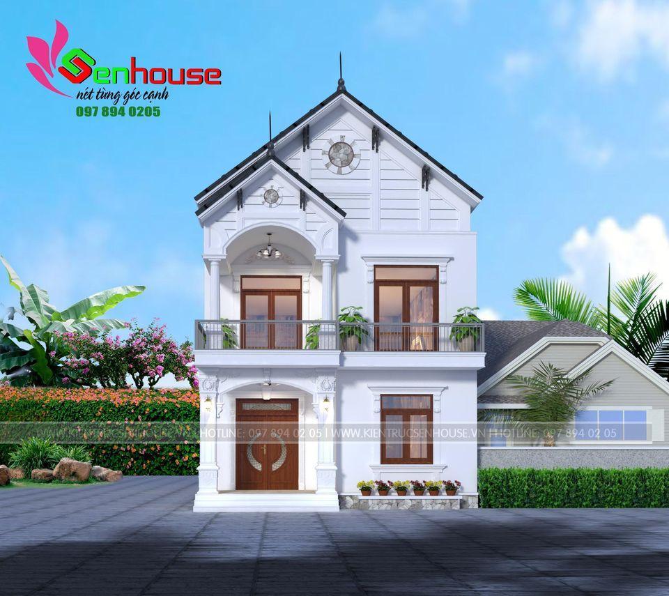 Mẫu thiết kế nhà 2 tầng kiểu tân cổ nhẹ nhàng của gia đình anh Ngọc tại Diễn Châu
