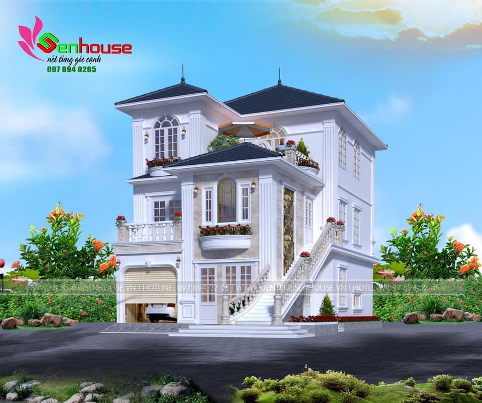 Thiết kế nhà 3 tầng theo phong cách tân cổ điển của gia đình anh Tòng Diễn Châu