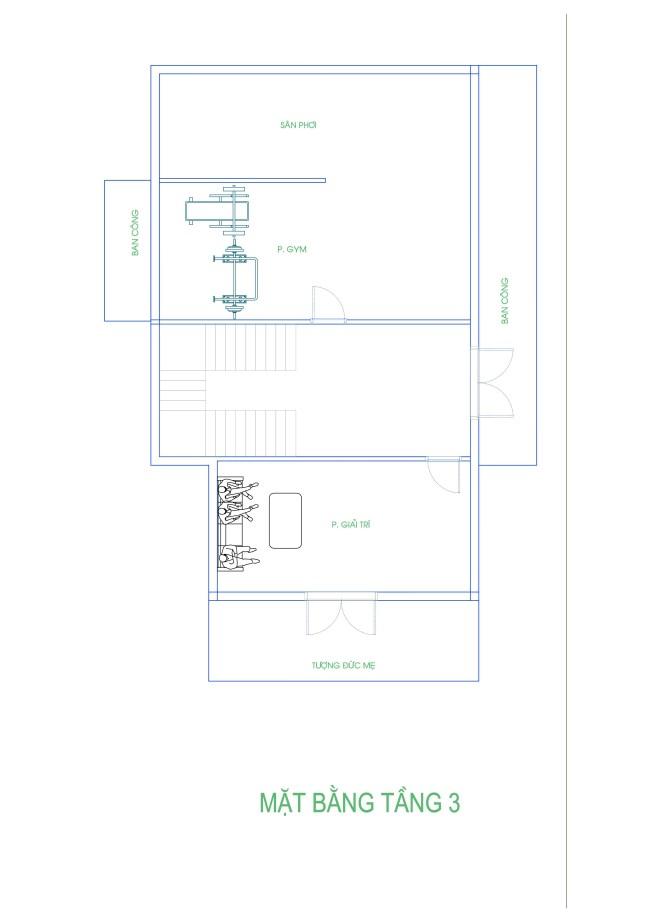 Thiết kế biệt thự 3 tầng của gia đình anh Tuấn ở Diễn Châu