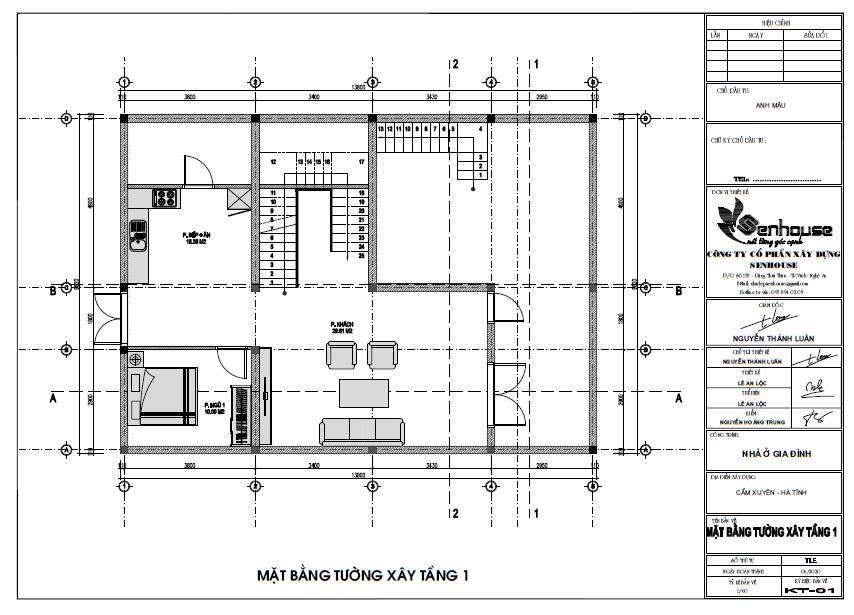 Bản vẽ công năng ngôi nhà tầng 1
