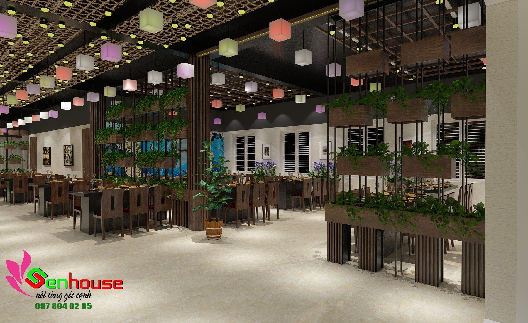 Cây xanh kết hợp nội thất tạo không gian sang trọng