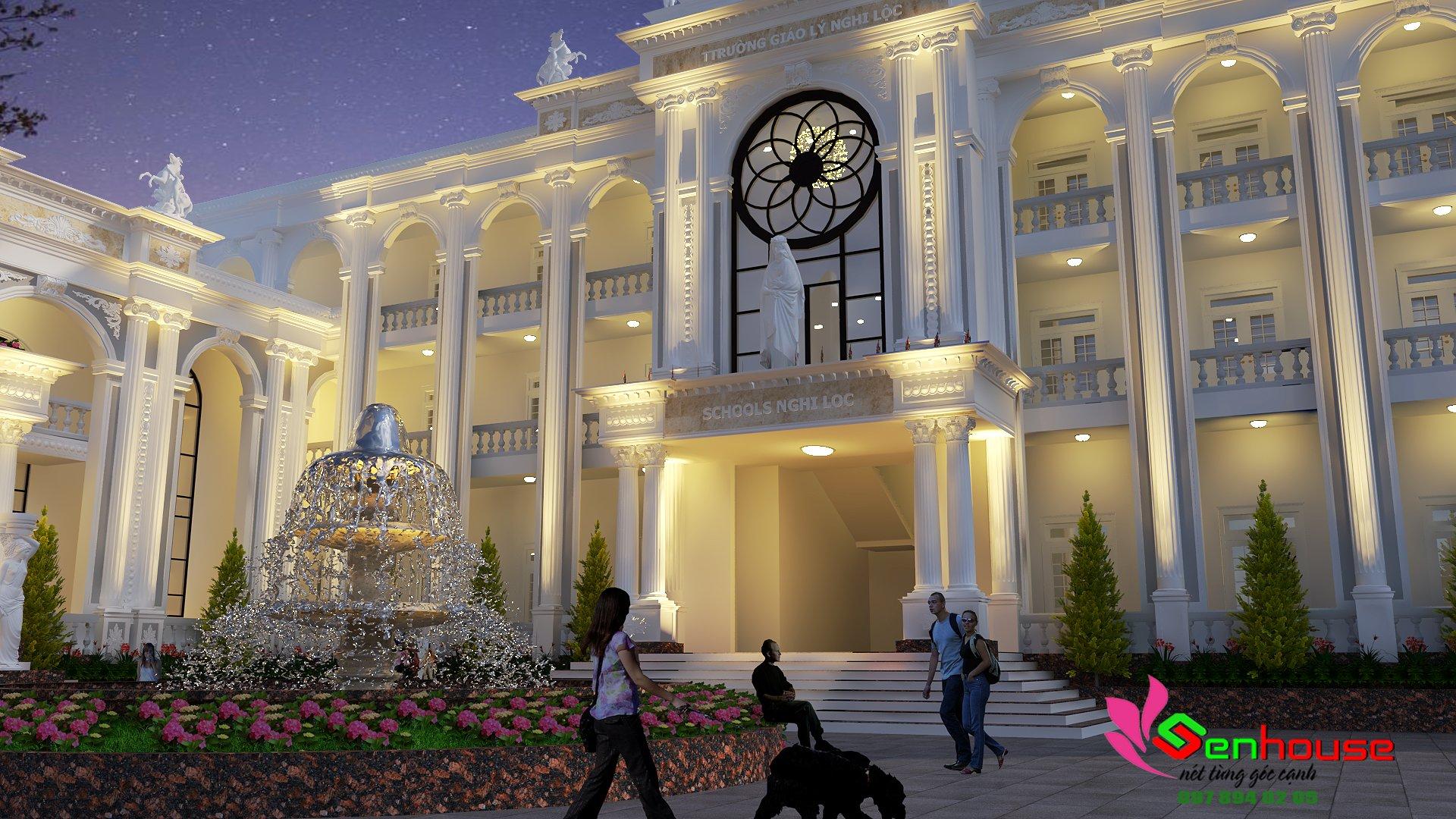 Thiết kế trường học kết hợp trung tâm hội nghị giáo xứ Nghi Lộc tại Diễn Hạnh