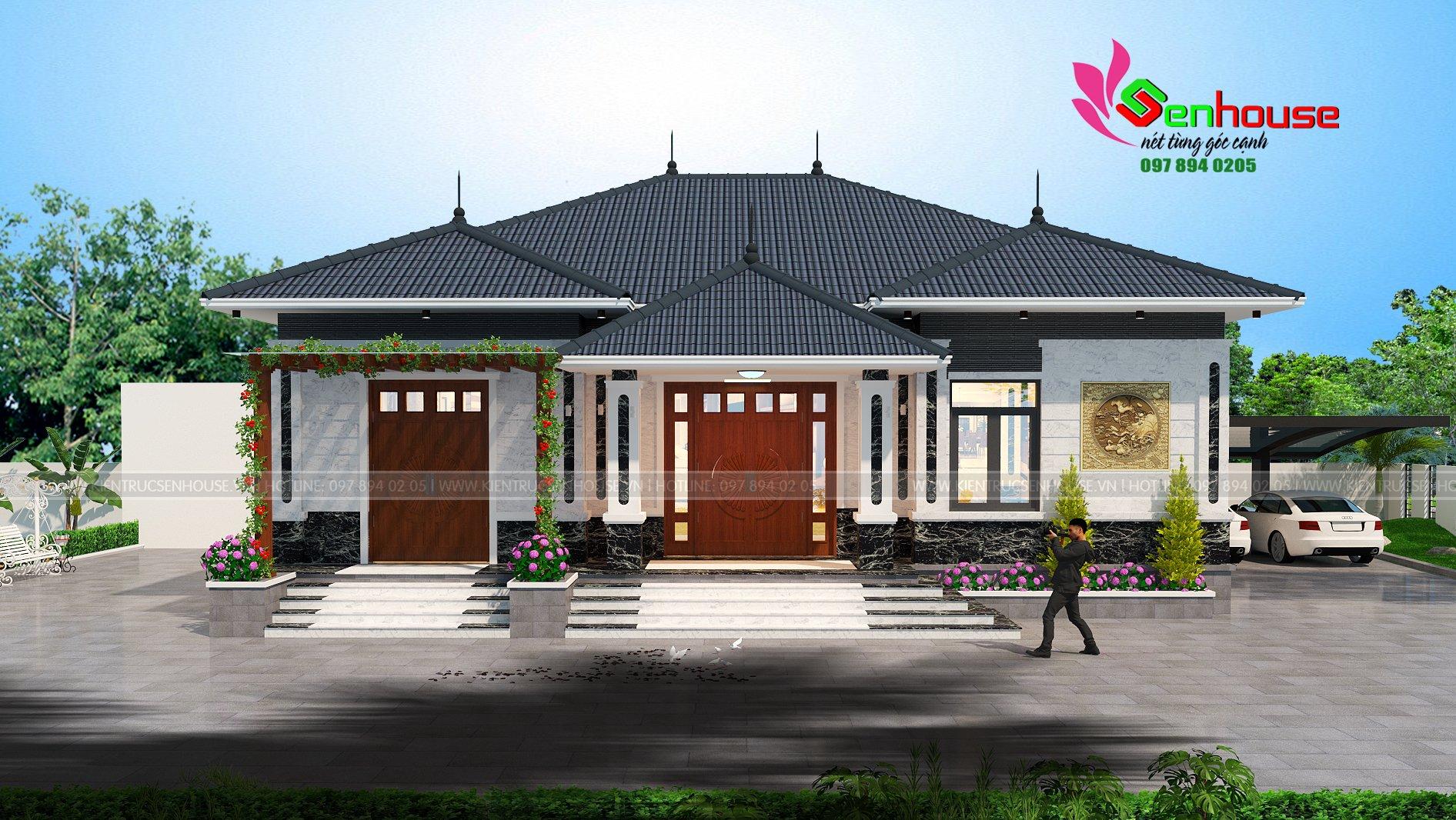 Mẫu thiết kế biệt thự cấp 4 mái thái của gia đình anh Hùng tại Lộc Hà Hà Tĩnh.