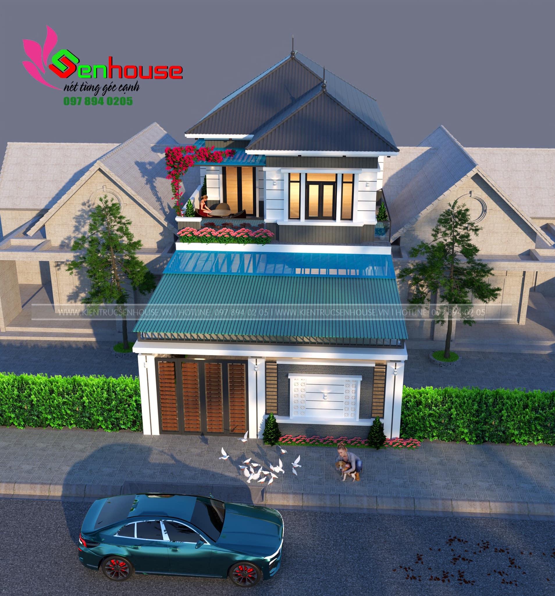 Thiết kế nhà 2 tầng hiện đại mái Nhật của gia đình anh Phượng tại Quỳ Hợp