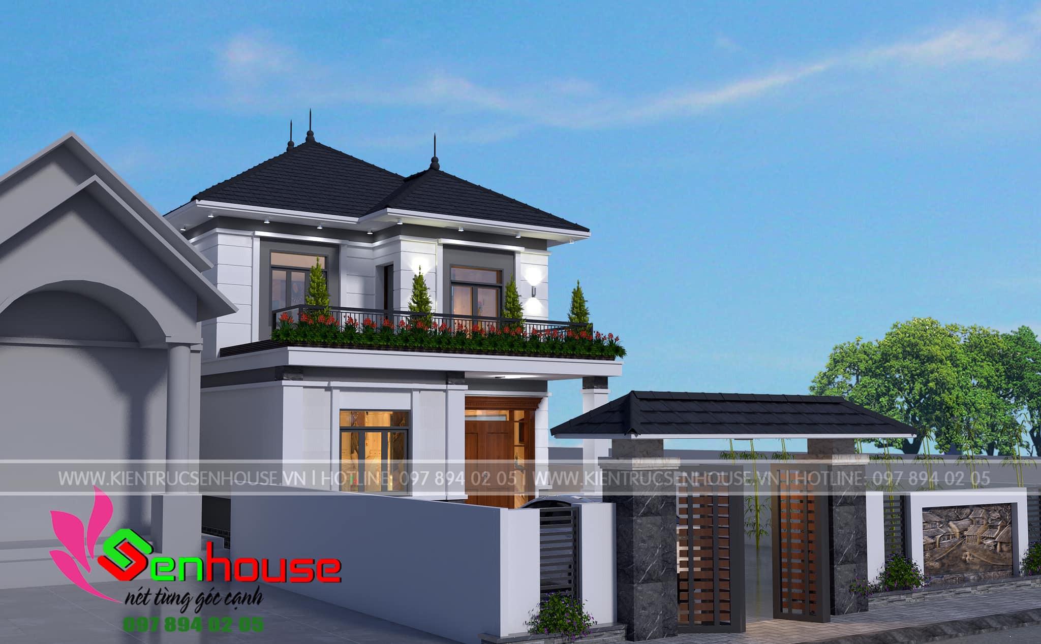 Thiết kế nhà 2 tầng mái Nhật của gia đình anh Nhật tại Đức Thọ