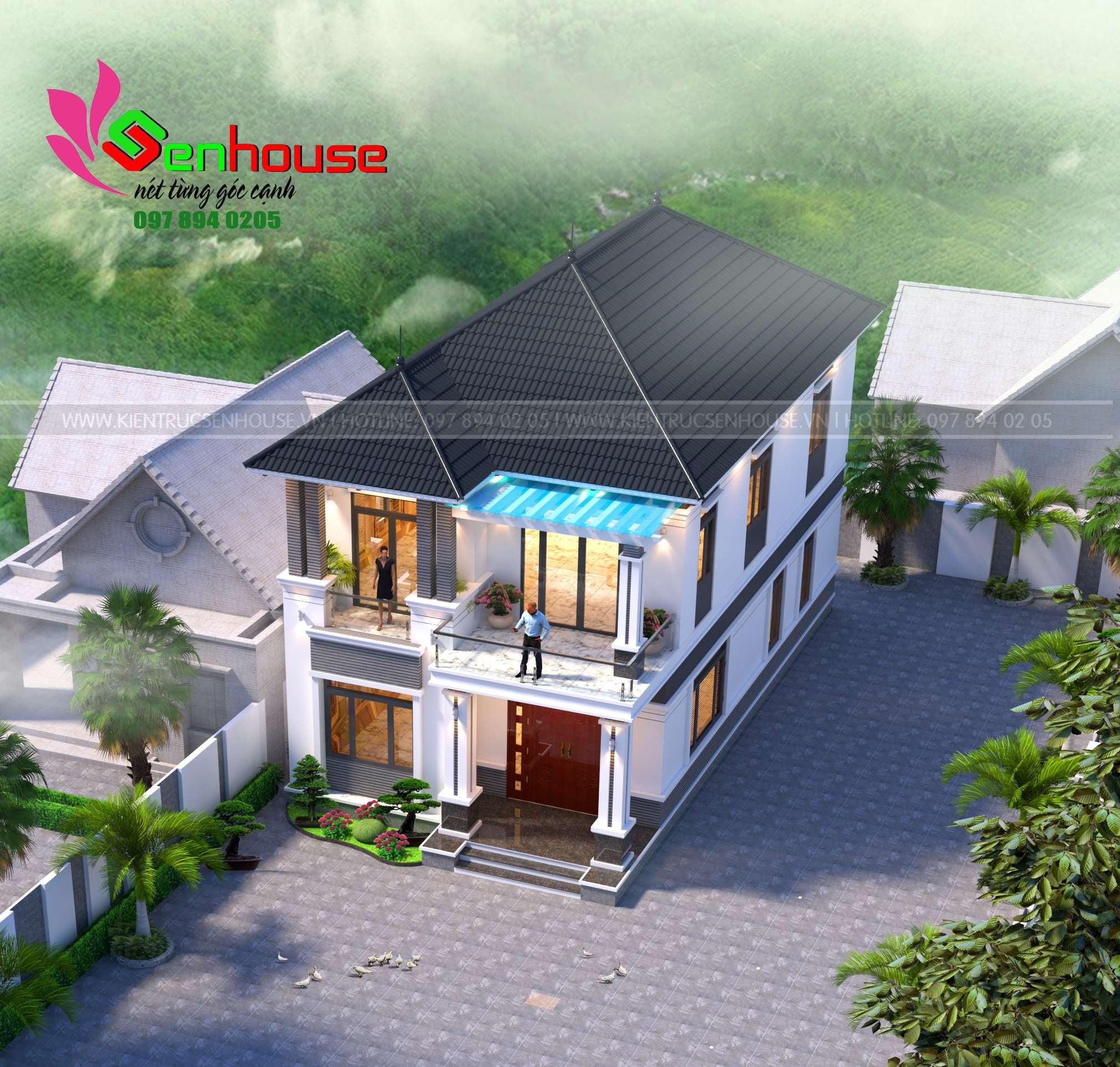 Thiết kế nhà 2 tầng cho gia đình chị Yến tại Cẩm Xuyên Hà Tĩnh