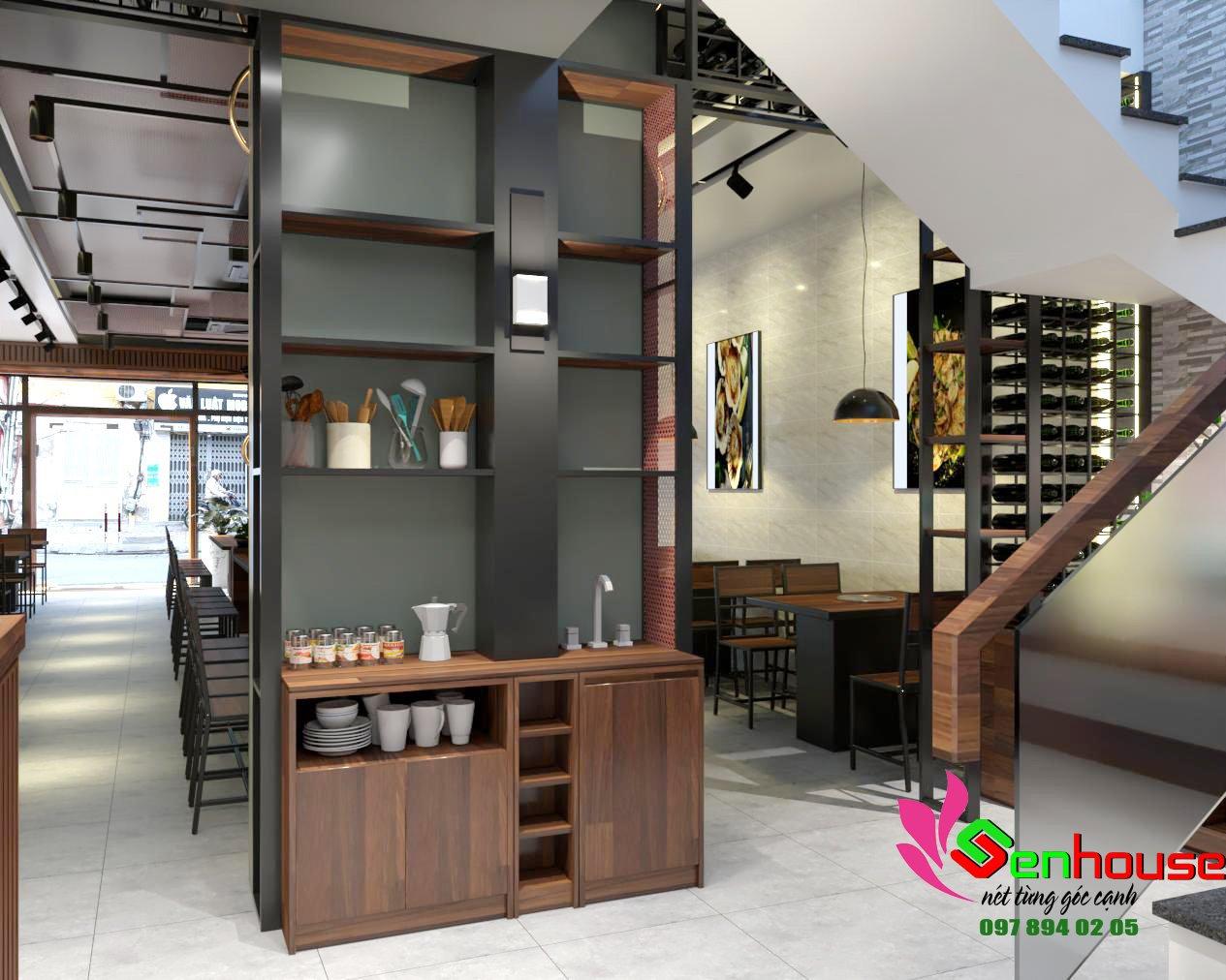 Thiết kế và thi công nội thất nhà hàng lẩu nướng tại TT Cẩm Xuyên